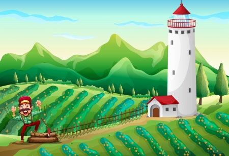 rootcrops: Illustration of a lumberjack near the tower at the farm