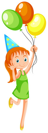 occassion: Illustration of a young girl with three balloons on a white background