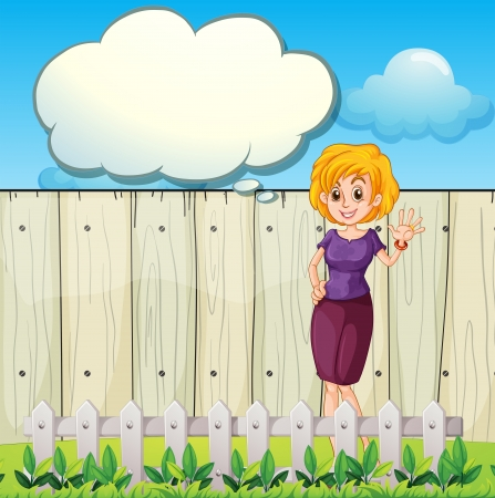 blue sky thinking: Illustration of a mother standing near the wooden fence with an empty callout