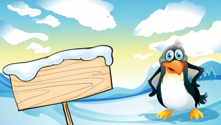 northpole: Illustration of a penguin beside the empty wooden signboard