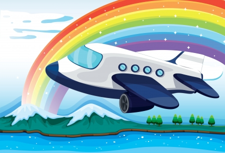 Illustration of an airplane near the rainbow Vector