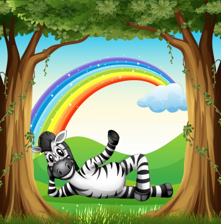 Illustration of a zebra at the forest with a rainbow Stock Vector - 25515334