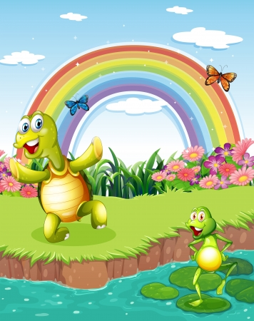 Illustration of a turtle and a frog playing at the pond with a rainbow above Vector