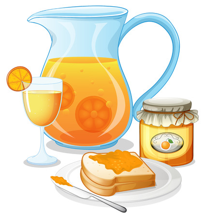 Illustration of the orange juice, jam and a sandwich on a white background Vector