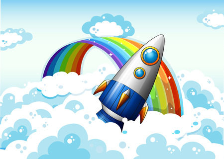 Illustration of a rocket near the rainbow Vector