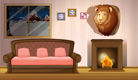 cartoon fireplace: Illustration of a room with a lion wall decor
