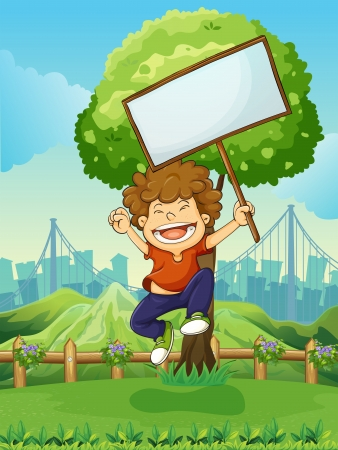 overlooking: Illustration of a happy boy jumping while holding an empty signboard Illustration