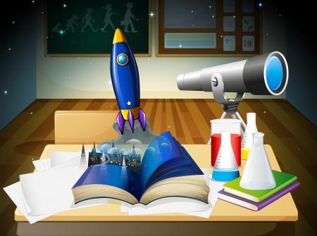 libro caricatura: Ilustración de una sala de laboratorio