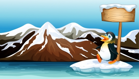 Illustration of a penguin above the iceberg with an empty wooden signboard Vector