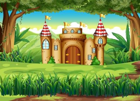 paisaje: Ilustración de un castillo en el bosque