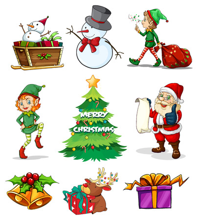 Illustration of the different christmas templates on a white background Vector
