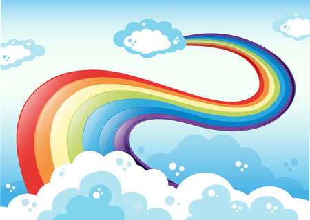 cartoon rainbow: Illustration of a sky with a rainbow Illustration