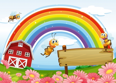 Illustration of a farm with an empty wooden board and a rainbow uphigh Vector