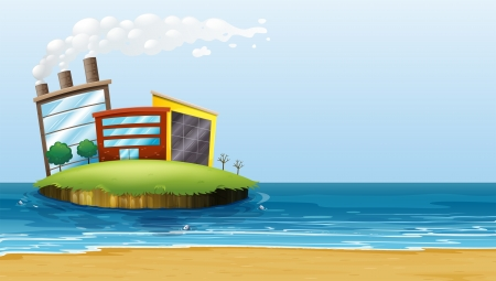 Illustration of a factory in the island at the beach Vector