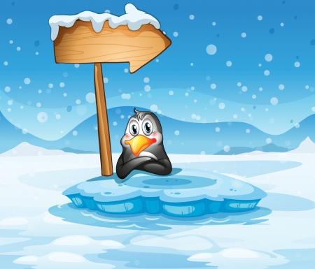 northpole: Illustratie van een ijsberg met een pinguïn en een pijl