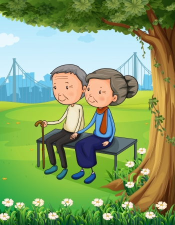 Illustration of the two old couple at the park Vector