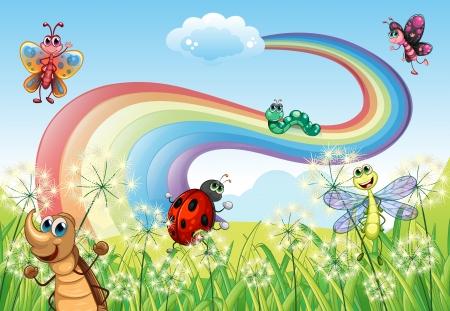 虹の丘の頂上にさまざまな昆虫のイラスト