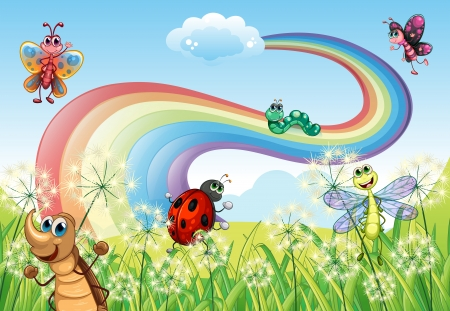 Illustration of the different insects at the hilltop with a rainbow Vector