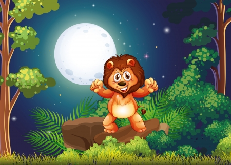 lions rock: Illustration of a young lion at the forest standing above the big rock