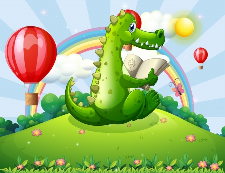 Illustration of a crocodile reading at the hilltop with a rainbow Vector