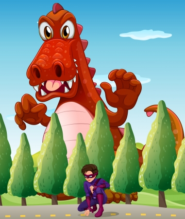 Illustration of a scary giant crocodile and a hero Vector