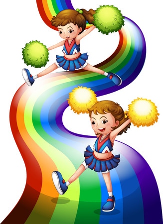 Illustration of a rainbow and the two cheerers on a white background Vector