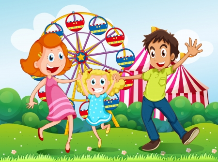 family park: Illustration of a happy family at the carnival in the hilltop