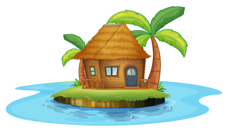 Illustration of an island with a small nipa hut on a white background Illustration