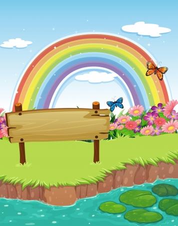 강둑: Illustration of an empty wooden signboard at the riverbank and a rainbow in the sky