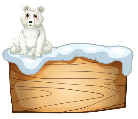 Illustration of a polar bear above an empty wooden board on a white background Vector