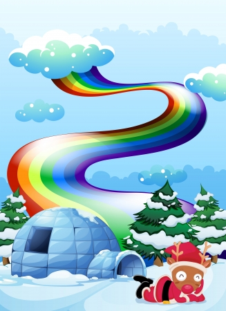 Illustration of a rainbow above the igloo beside the reindeer Illustration