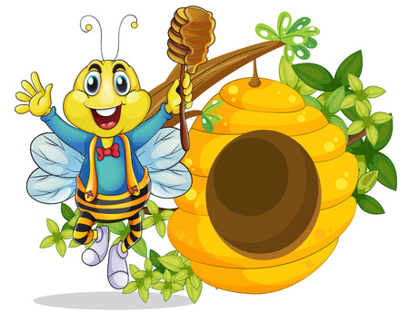 hollow: Illustration of a happy bee holding a stick with honey on a white background Illustration