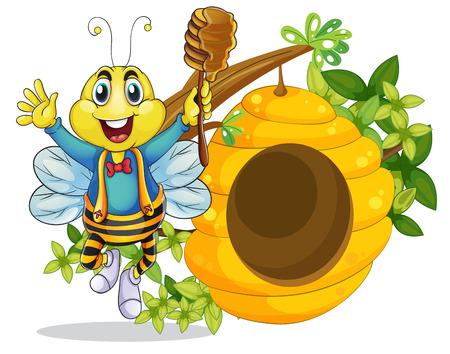 ocas: Ilustración de una abeja feliz celebración de un palo con la miel en un fondo blanco