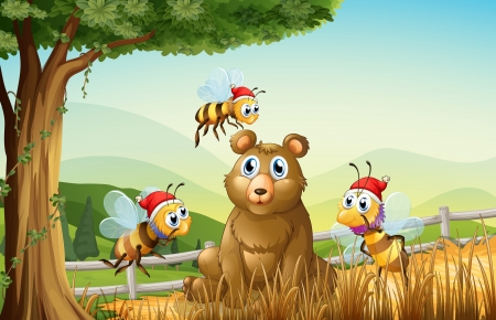 Illustration of a bear at the forest with three Santa bees Vector