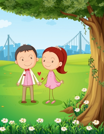 Illustration of a couple dating near the tree Vector