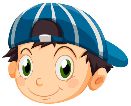 round face: Illustration of a head of a young boy with a cap on a white background Illustration