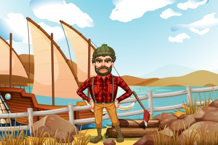 angry sky: Illustration of an angry lumberjack near the ship