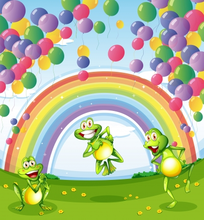 Illustration of the three frogs under the floating balloons near the rainbow Vector