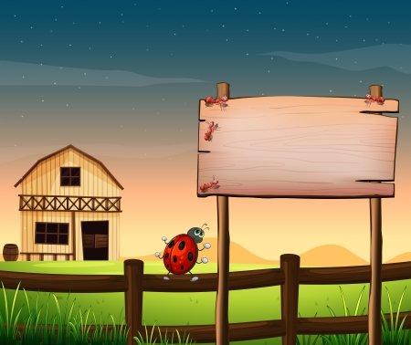 menu land: Illustration of an empty wooden board at the farm with ants and a bug