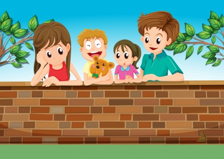 Illustration of a family at the backyard