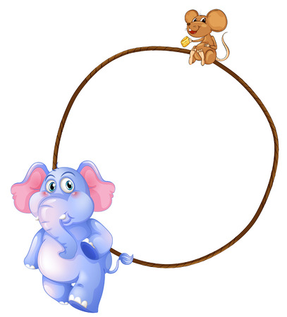Illustration of an elephant, a mouse and a round empty template on a white background Vector