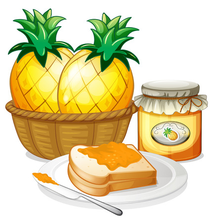 tighten: Illustration of the pineapple, jam and sandwich on a white background