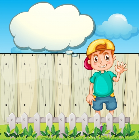 Illustration of a young boy with an empty thought standing near the fence Vector