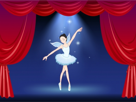 stageplay: Illustration of a stage with a ballerina dancer
