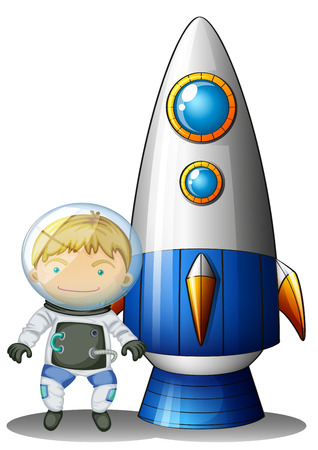 Illustration of an astronaut beside the airship on a white background Vector