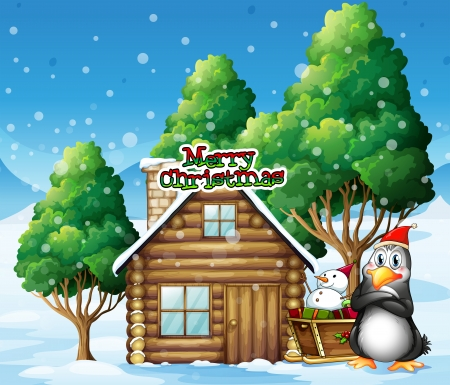 Illustration of a penguin and a snowman beside the wooden house Vector