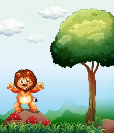 Illustration of a lion at the forest standing above the rock near the mushroom plants Vector