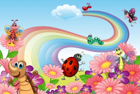 Illustration of a rainbow at the garden with insects Vector