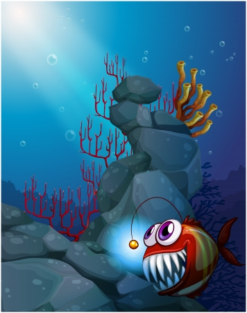 Illustration of a coral reef under the sea with a piranha Vector