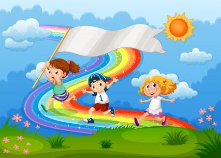 Ilustración de los niños corriendo con una bandera vacía y un arco iris en el cielo